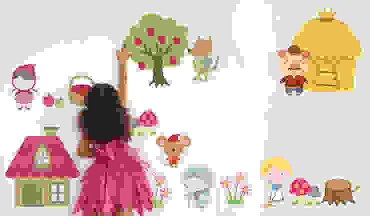 Fairytale Castle And Princess Fabric Wall Stickers SnuggleDust Studios Nursery/kid's roomAccessories & decoration