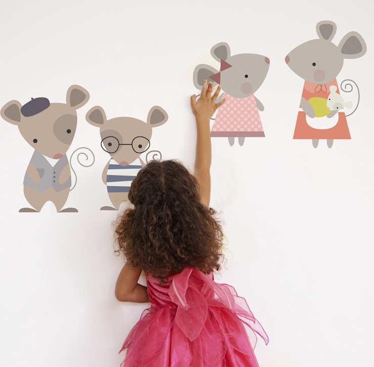 Mouse Family Fabric Wall Sticker: modern  by SnuggleDust Studios, Modern