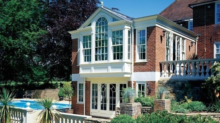 Exterior of a bespoke wooden garden room in Bedfordshire Classic style conservatory by Westbury Garden Rooms Classic