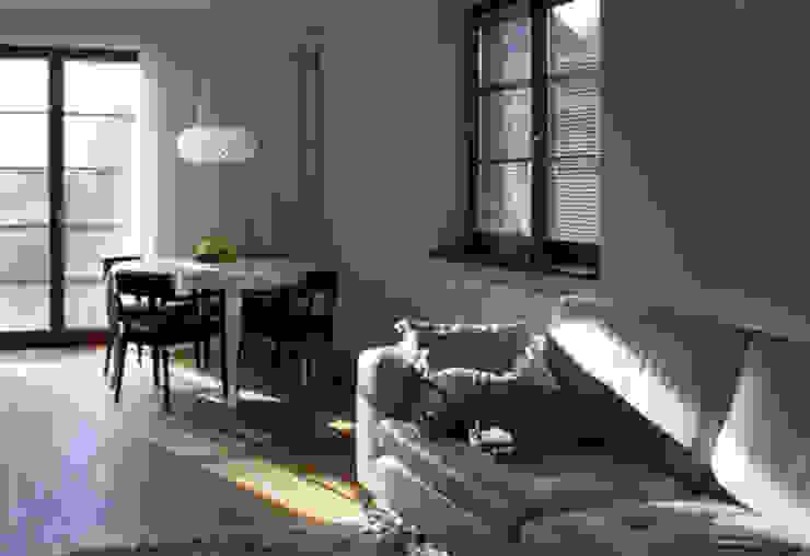 Projekt wnętrza domu w Krakowie Nowoczesny salon od MK-ARCHITEKCI Nowoczesny