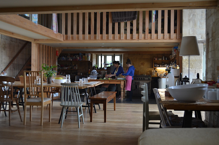 Group kitchen and dining area Country style dining room by Hetreed Ross Architects Country