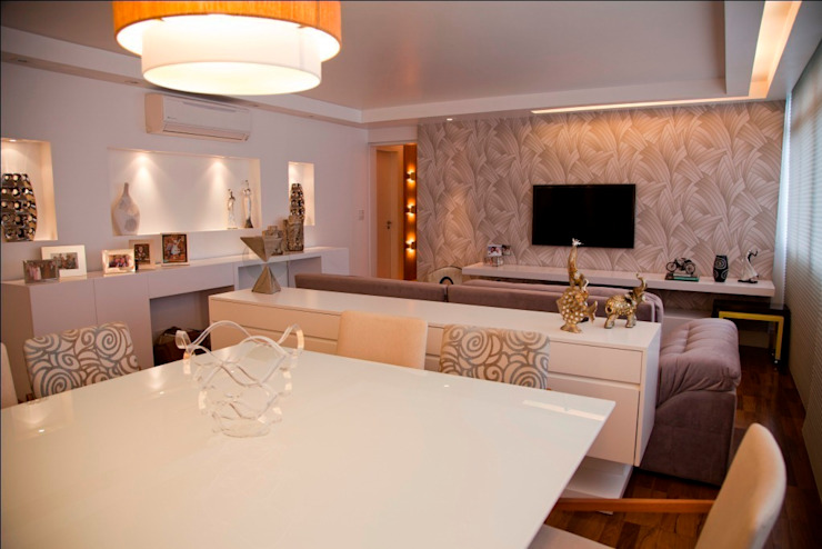 Salas / recibidores de estilo  por Marcia Debski Ferreira Designer de Interiores, Moderno