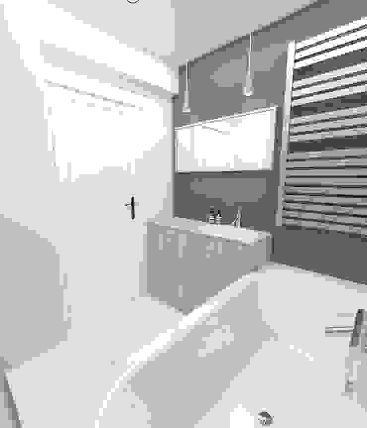 Łazienka 4m2 Nowoczesna łazienka od WNĘTRZNOŚCI Projektowanie wnętrz i mebli Nowoczesny