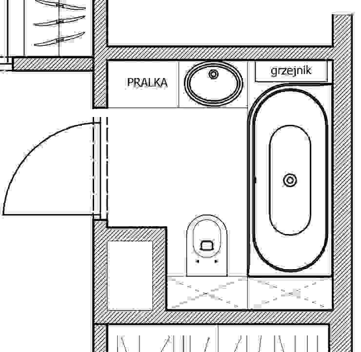 Łazienka 4m2 od WNĘTRZNOŚCI Projektowanie wnętrz i mebli Nowoczesny