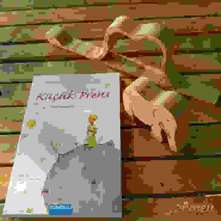 Ahşap Küçük Prens Fil Yutmuş Boğa Yılanı Figürü / Wooden Little Princes Snake Figure Gökmen Ahşap Oyuncak ve Tasarım Klasik