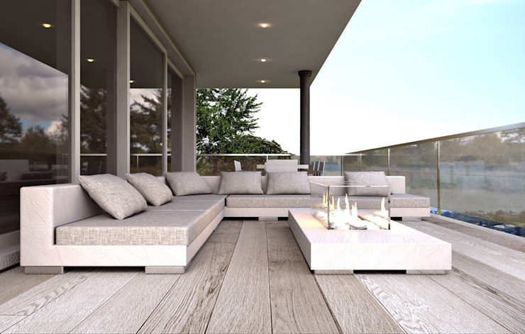 ARTREADY Modern balcony, veranda & terrace