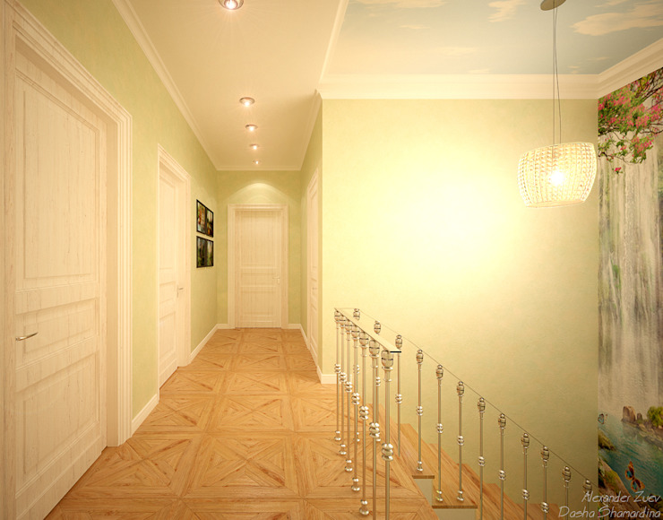 """Дизайн лестницы в современном стиле в коттеджном поселке """"Виктория"""" Коридор, прихожая и лестница в модерн стиле от Студия интерьерного дизайна happy.design Модерн"""