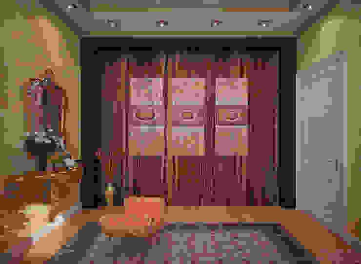 """Дизайн спальни в стиле фьюжн в коттеджном поселке """"Виктория"""" Спальня в колониальном стиле от Студия интерьерного дизайна happy.design Колониальный"""
