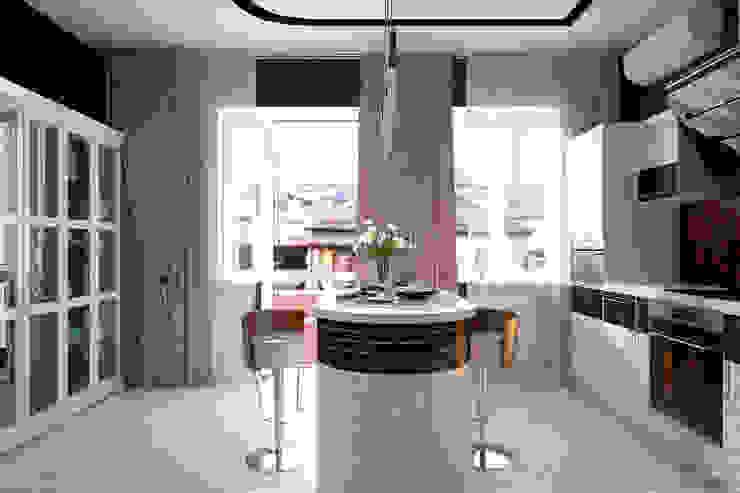 """Дизайн кухни-гостиной в современном стиле в коттеджном поселке """"Виктория"""" Студия интерьерного дизайна happy.design Кухня в стиле модерн"""