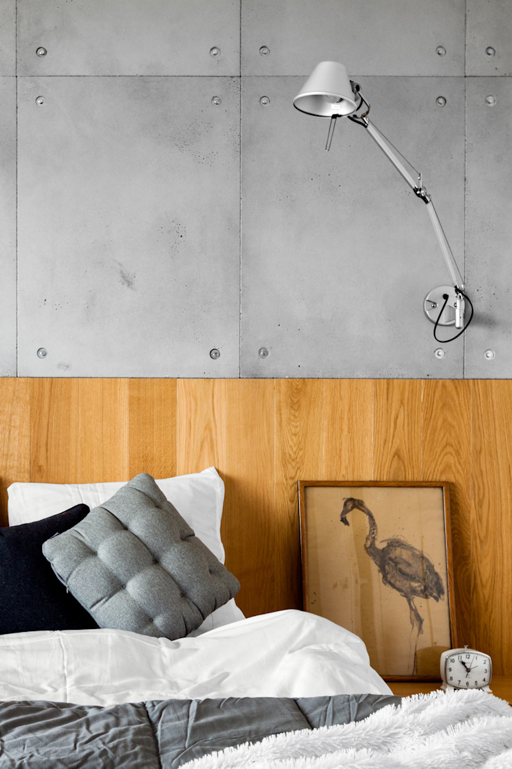 Contractors Modern style bedroom Concrete Grey