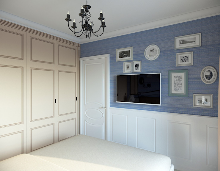 """<q class=""""-first""""> Французский штрих </q> Квартира 68 кв.м, МО Спальня в стиле кантри от Krupp Interiors Кантри"""