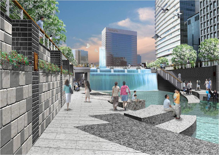 A view looking a cascade in ChengGye Plaza from the low stream side 인더스트리얼 정원 by Seo Ahn R&D Design Group 인더스트리얼