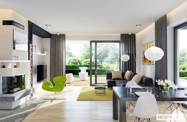 Projekt domu Astrid II G2: styl , w kategorii Salon zaprojektowany przez Pracownia Projektowa ARCHIPELAG,Nowoczesny
