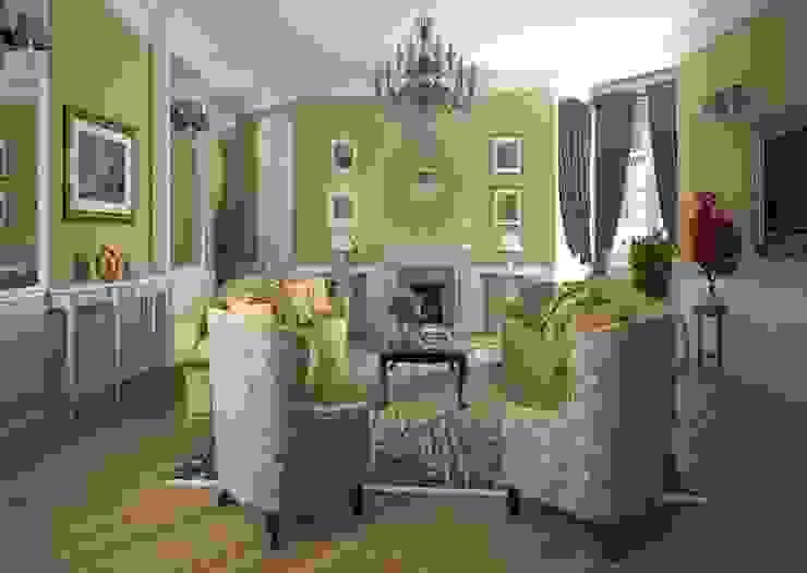 Дизайн проект квартиры в стиле эклектика Гостиные в эклектичном стиле от Альбина Романова Эклектичный