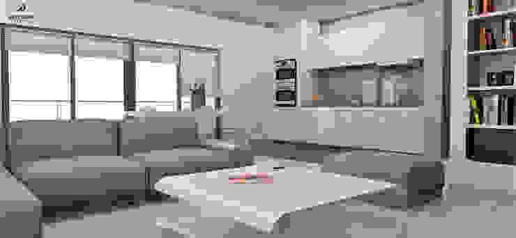 Minimalistyczny apartament Nowoczesny salon od Artenova Design Nowoczesny