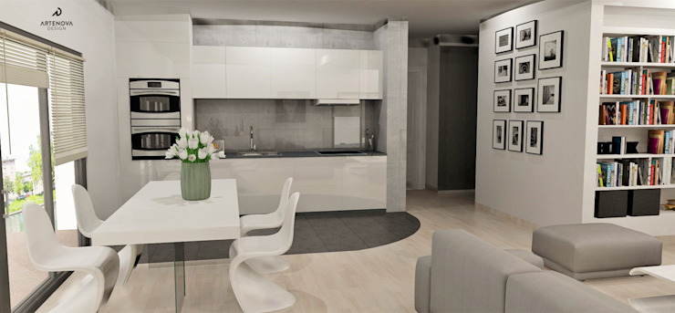 Minimalistyczny apartament Nowoczesna kuchnia od Artenova Design Nowoczesny