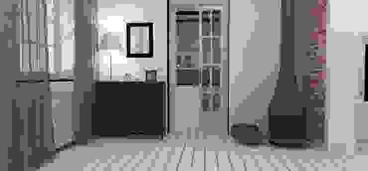 Rstykalne mieszkanie w kamienicy Warszawa Rustykalny salon od Artenova Design Rustykalny