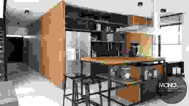 Nowoczesny dom o bardzo ciekawej formie, którego wnętrza korespondują z zewnętrzem. Nowoczesna kuchnia od MONOstudio Nowoczesny
