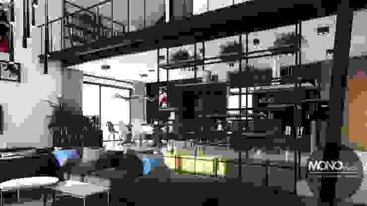 Nowoczesny dom o bardzo ciekawej formie, którego wnętrza korespondują z zewnętrzem. Nowoczesny salon od MONOstudio Nowoczesny