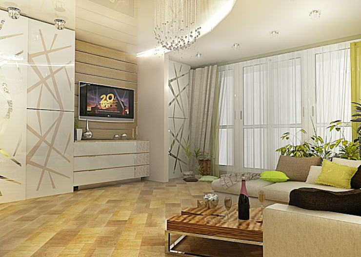 Квартира – студия Гостиная в стиле модерн от Мозжерина Марина Модерн