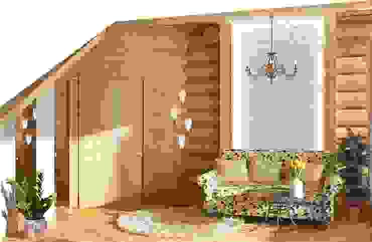 Интерьер бревенчатого дома Гостиные в эклектичном стиле от Мозжерина Марина Эклектичный