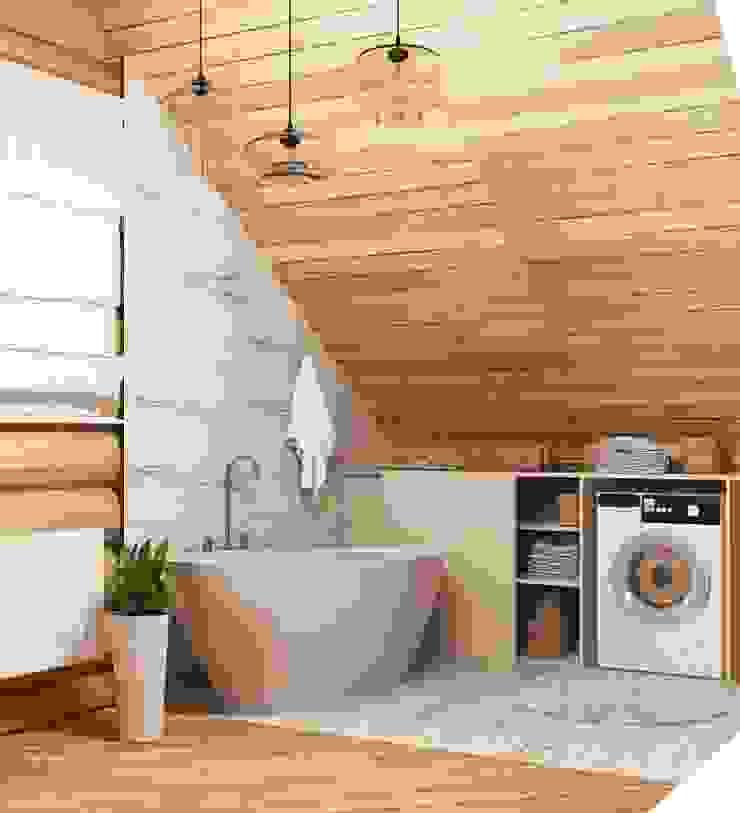 Интерьер бревенчатого дома Ванная комната в эклектичном стиле от Мозжерина Марина Эклектичный