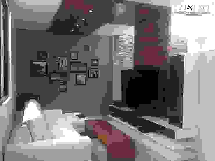 Mueble de Televisión con plafon y bancas en Nogal de CU4TRO Carpintería y Diseño en Muebles Moderno