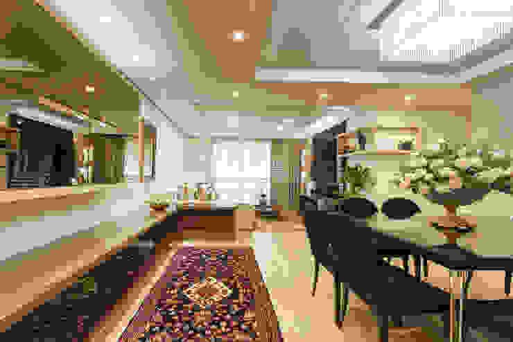 Setorização da sala de estar e jantar por msaviarquitetura Moderno