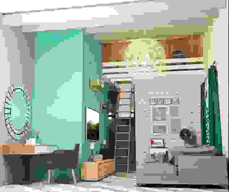 2х этажный дом Гостиная в стиле лофт от Мозжерина Марина Лофт
