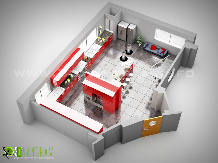 3D Kitchen Floor Plan by Yantram Architectural Design Studio