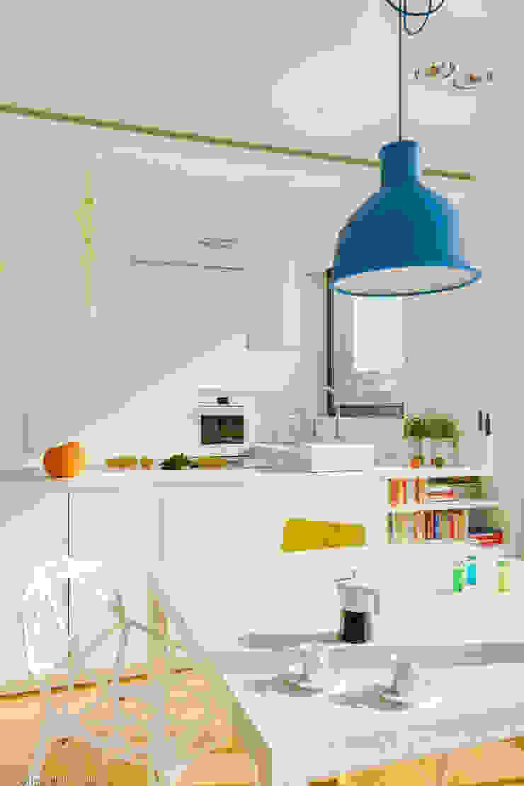 Nowoczesne, jasne mieszkanie z przeszkleniami Nowoczesna jadalnia od Le Pukka Concept Store Nowoczesny