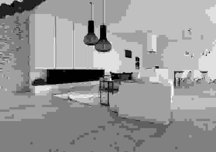 Projekt mieszkania w Gliwicach Minimalistyczny salon od FOORMA Pracownia Architektury Wnętrz Minimalistyczny