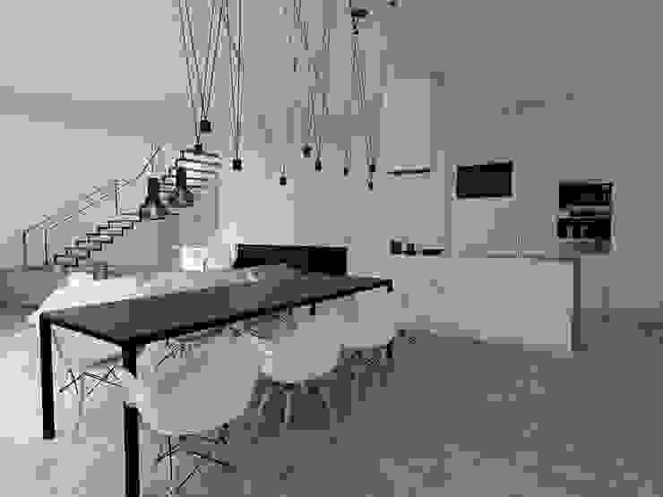 Projekt mieszkania w Gliwicach Minimalistyczna jadalnia od FOORMA Pracownia Architektury Wnętrz Minimalistyczny