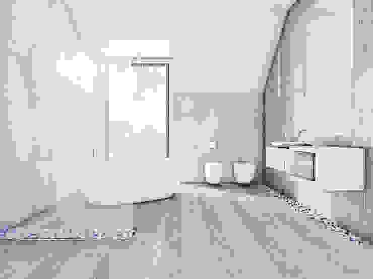 Łazienka, dom jednorodzinny Szałsza Minimalistyczna łazienka od FOORMA Pracownia Architektury Wnętrz Minimalistyczny