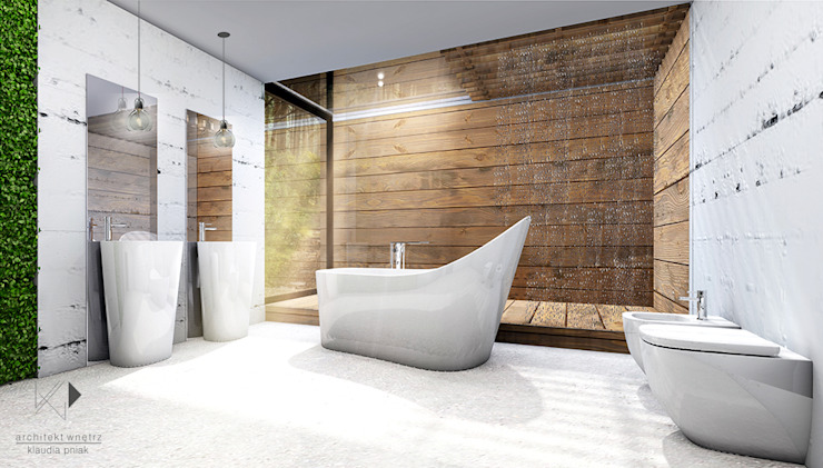 Łazienka Skandynawska łazienka od Architekt wnętrz Klaudia Pniak Skandynawski
