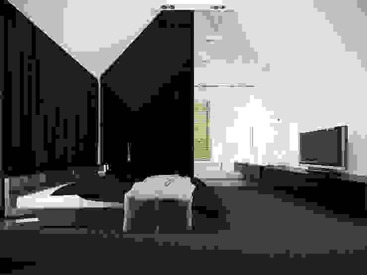 Sypialnia na poddaszu Nowoczesna sypialnia od KODO projekty i realizacje wnętrz Nowoczesny