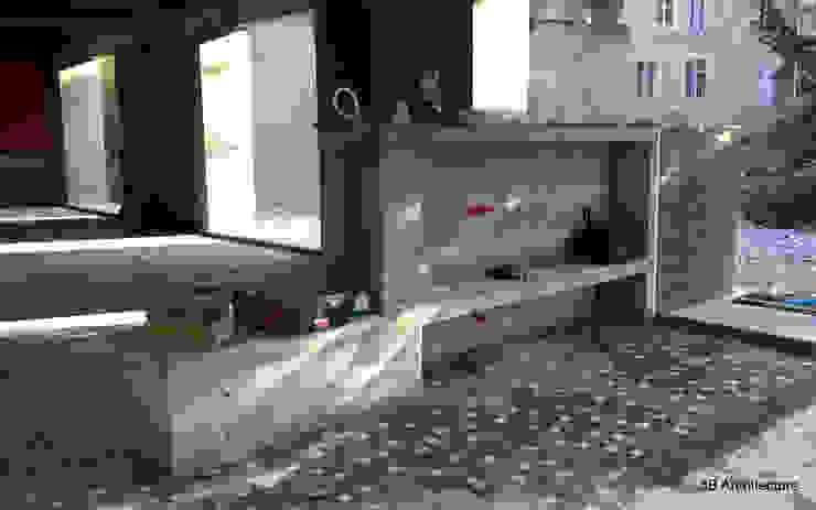 Chantier - Le meuble d'entrée en béton côté séjour par 3B Architecture Moderne