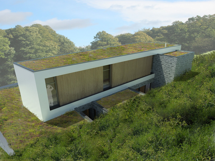 Vue de la façade arrière Salle de bain minimaliste par 3B Architecture Minimaliste