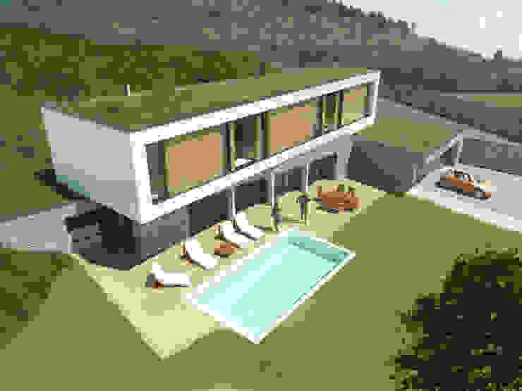 Vue axonométrique de la façade sud Balcon, Veranda & Terrasse minimalistes par 3B Architecture Minimaliste