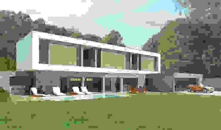 Vue depuis le jardin Chambre minimaliste par 3B Architecture Minimaliste
