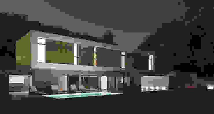 Vue de nuit Chambre minimaliste par 3B Architecture Minimaliste