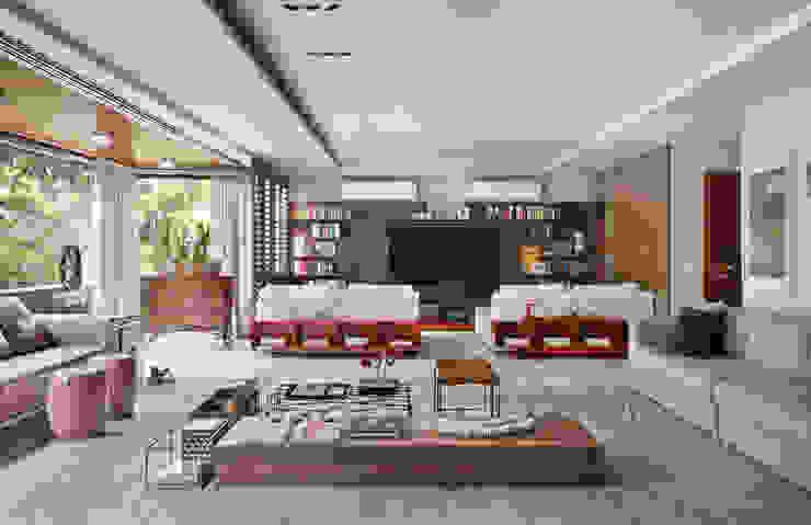 Apartamento WSS Salas multimídia modernas por Yamagata Arquitetura Moderno