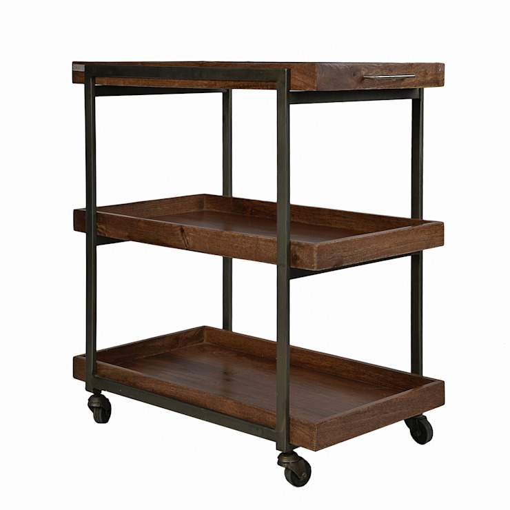WOOD & IRON 3 TIER KITCHEN TROLLEY: rustic  by The Yellow Door Store,Rustic
