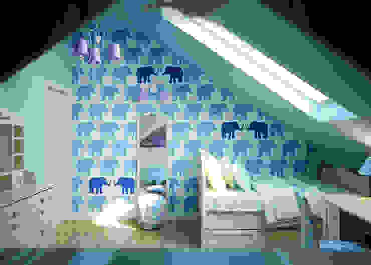 Wallpaper Elephants Humpty Dumpty Room Decoration Nursery/kid's room Blue