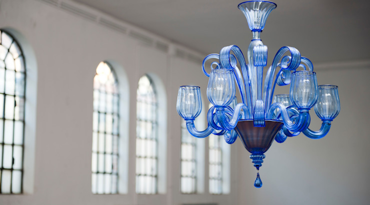 Lampadaro blu in vetro di Murano - CELSI di YourMurano Lighting Moderno Vetro