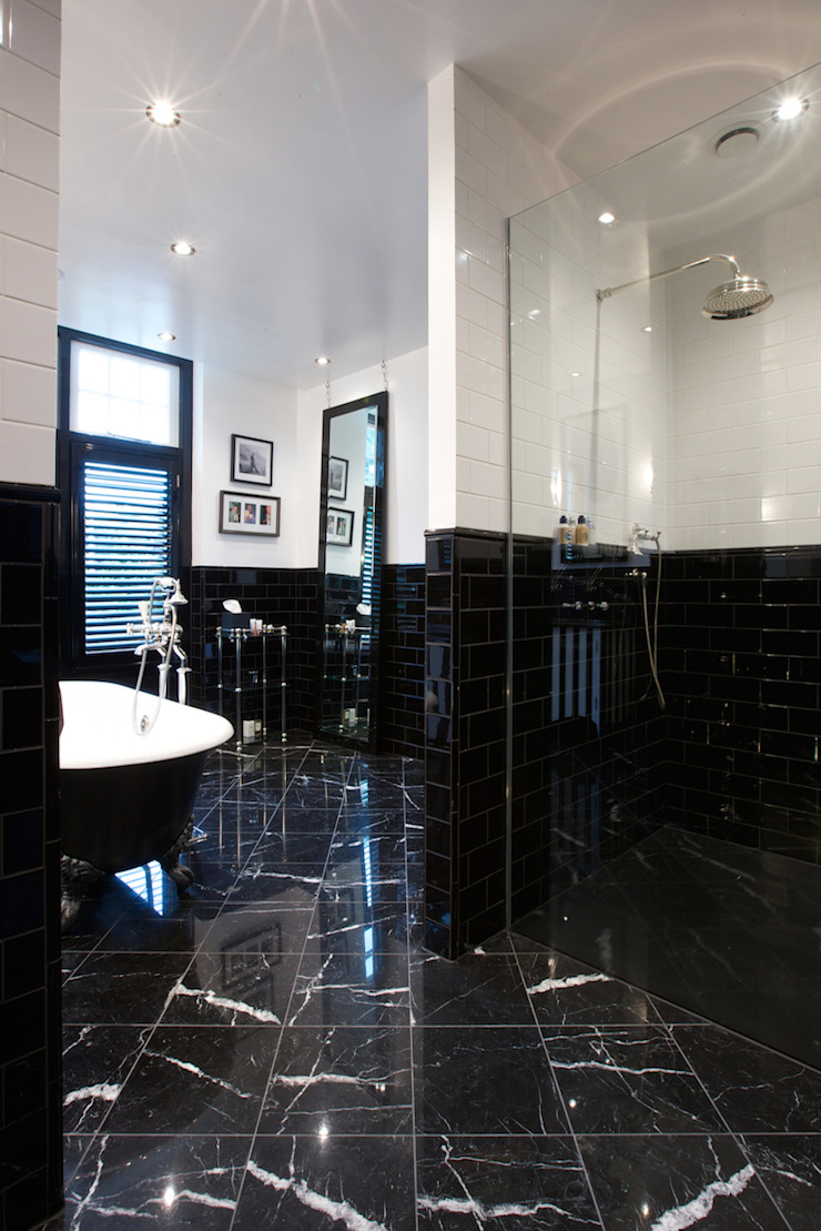 Nero Portofino Marble in a polished finish (designed by Sian Parry Jones). Artisans of Devizes Classic style bathroom
