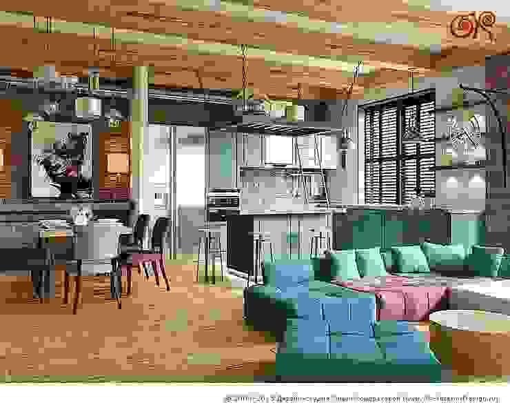 Дизайн студия Ольги Кондратовой Industrial style living room