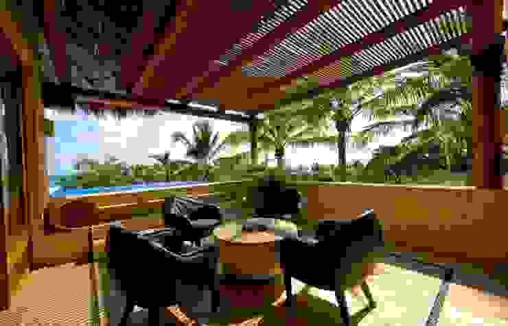 Casa Cariza Salones tropicales de BR ARQUITECTOS Tropical