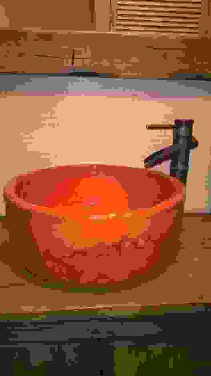 umywalka ceramiczna Rustykalna łazienka od dekornia Rustykalny