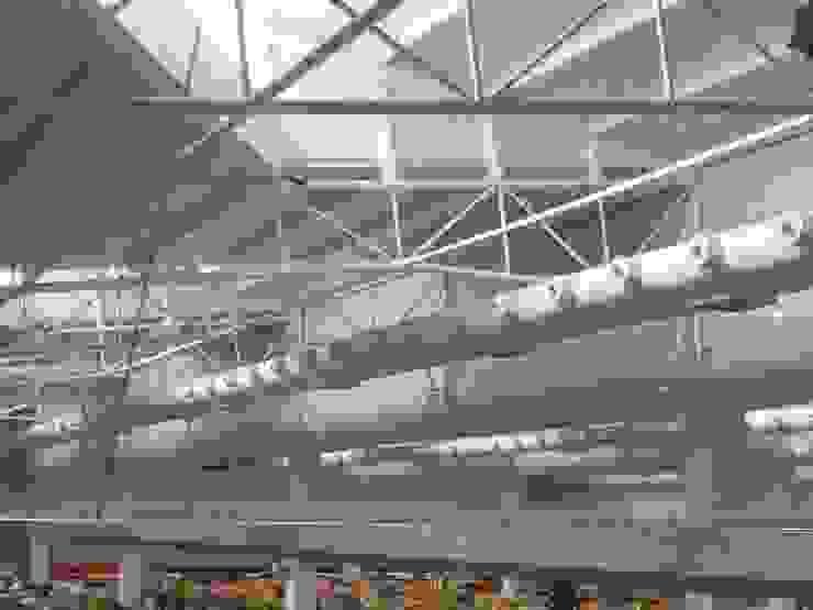 Detalhe da iluminação natural e dutos de climatização. Lojas & Imóveis comerciais modernos por Douglas Piccolo Arquitetura e Planejamento Visual LTDA. Moderno